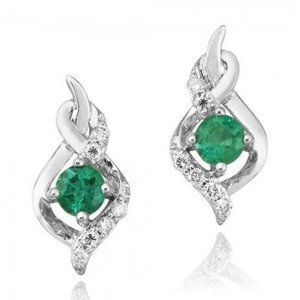 Jewelry - Round cut 4.80 carats emerald and diamonds Stud